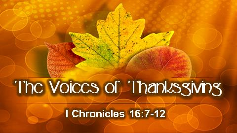 The Voices of Thanksgiving | I Chronicles 16:7-12